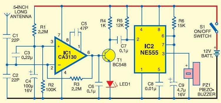 Cell phone detector circuit design