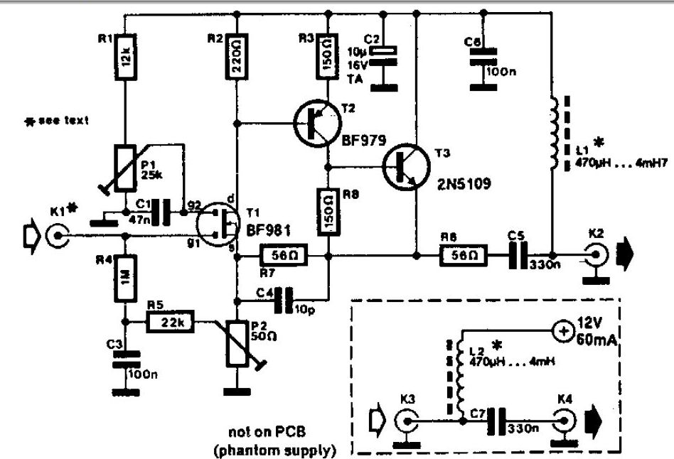 wideband active antenna circuit