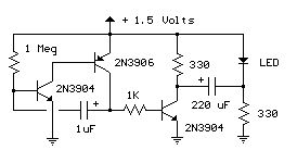 2n transistors led flasher