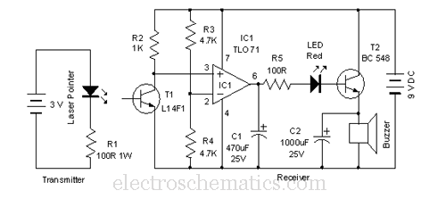 Laser Door Alarm Circuit