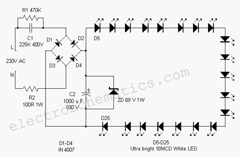 WHITE LED FLOOD LAMP CIRCUIT circuit diagram of philips led bulb circuit and schematics diagram led lamp wiring diagram at crackthecode.co