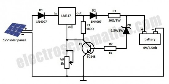 diagram circuit source  solar charger for 6v 4 5ah battery