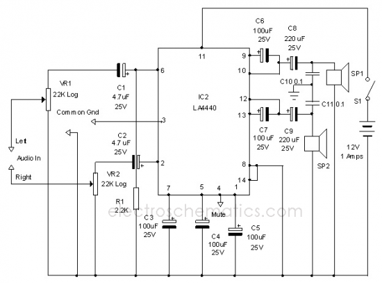 wiring diagram ref  la4440 stereo amplifier circuit