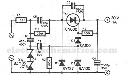 transformerless power supply 30v 1a