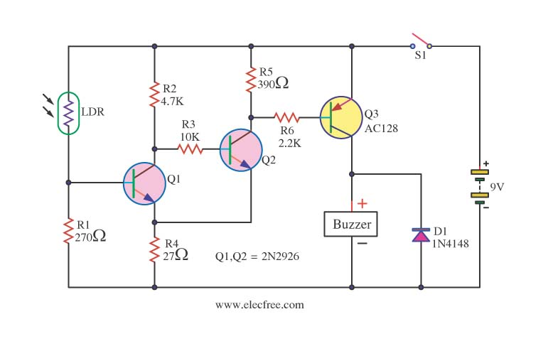 The Pir Movement Detector With Light Activated additionally Burglar Alarm Circuit Diagram furthermore 2 likewise Dusk To Dawn Light Wiring Diagram besides Diy Ldr Switch Circuits. on light activated relay with 555 ic
