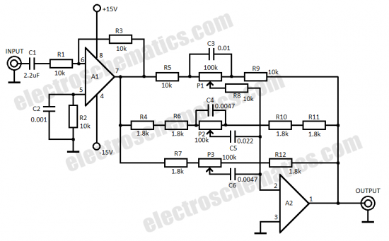 3 band audio equalizer circuit schematic