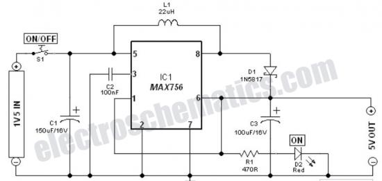 1 5v battery to 5v voltage converter