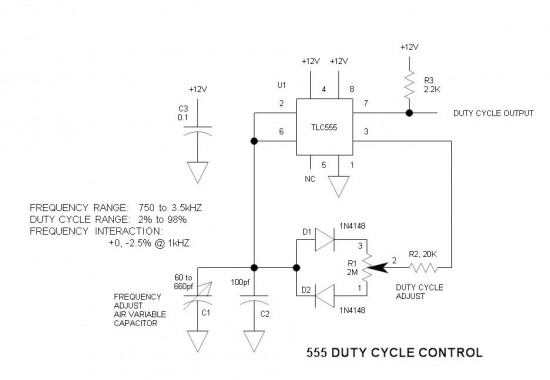 555 Duty Cycle Control Schematic
