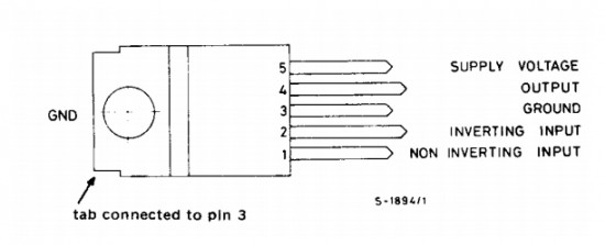 TDA2003 pin connection