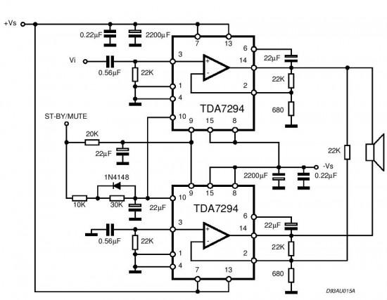 Схемы Аудио Самодельный усилитель на TDA 7294 - Подытожим: мостовая схема чистыми дала Uвых = 38 В...