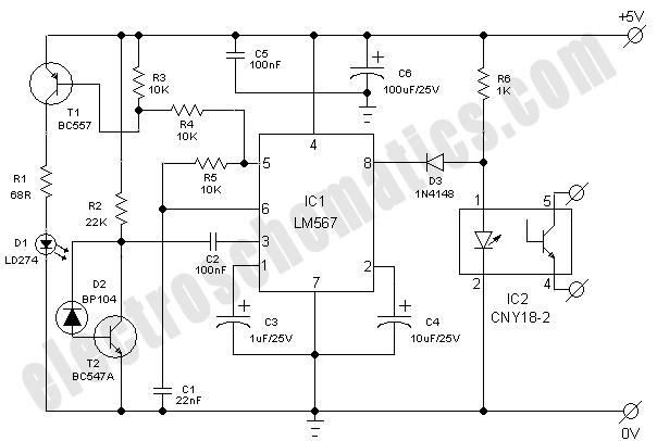Infrared Model Train Detector on Simple Circuit Diagram