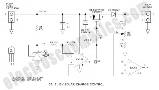 3a 6v  12v solar charge control circuit