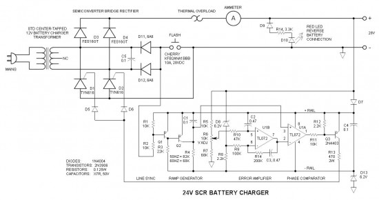 24v battery charger with scr