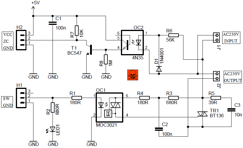 ac light dimmer module circuit with zc detector LED 5V Circuit Basic Code 12V LED Light Circuit Diagram